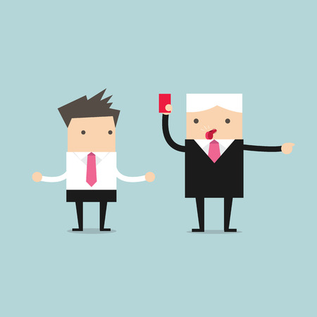 human vector: Manager showing a red card to businessman Illustration