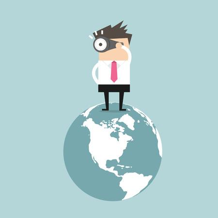 Homme d'affaires trouver l'occasion sur le vecteur du monde Vecteurs