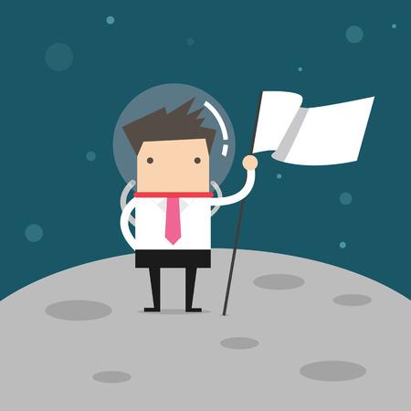 no1: Businessman planting white flag on moon Illustration