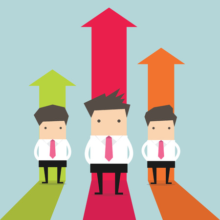 Businessman stand with growing graph Illustration