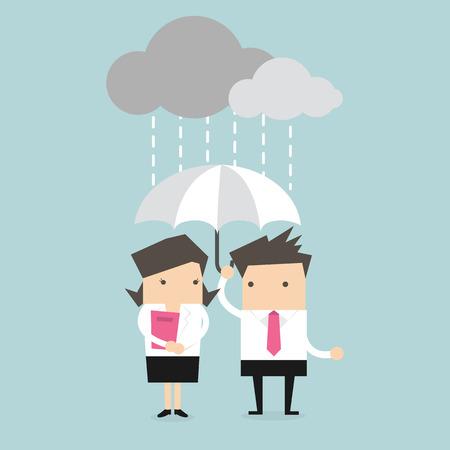 Businessman  businesswoman under umbrella in the rain vector Illustration