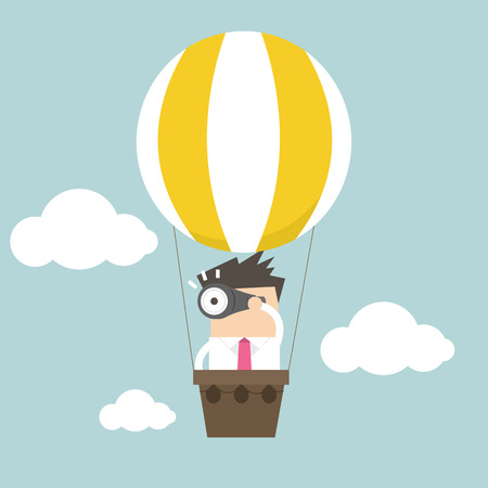 Businessman in balloon Illustration