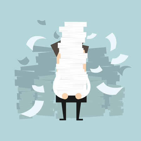 disheartened: Businessman holding a lot of documents in his hands