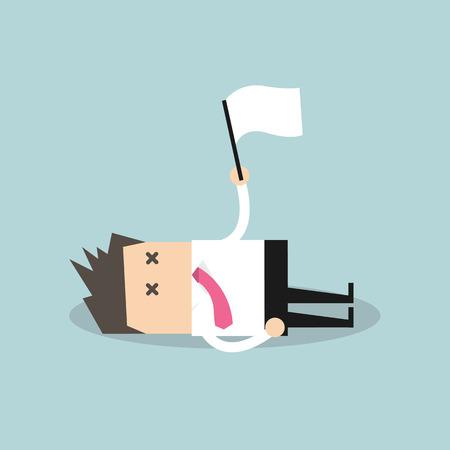 accidente trabajo: Hombre de negocios agotado que se acuesta en el suelo y la entrega Vectores
