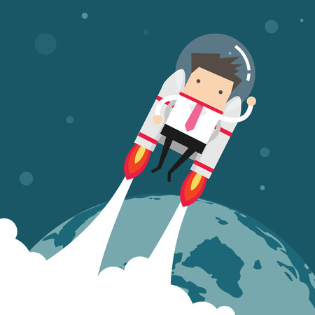 jetpack: Flying businessman with jetpack Illustration