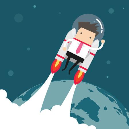 Flying businessman with jetpack Illustration