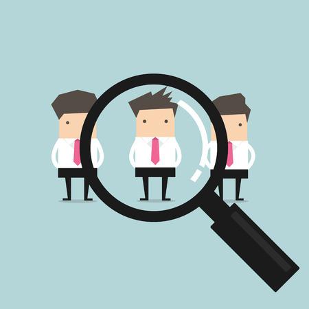 Het zoeken naar de beste kandidaat zakenman rekruut-concept Stock Illustratie