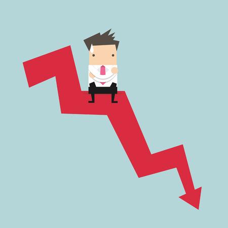choose a path: Businessman sitting on graph down Illustration