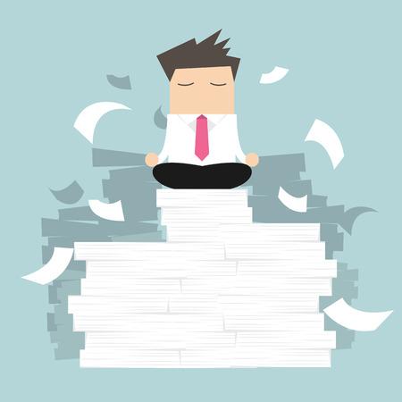 hombres ejecutivos: Empresario meditando en paz