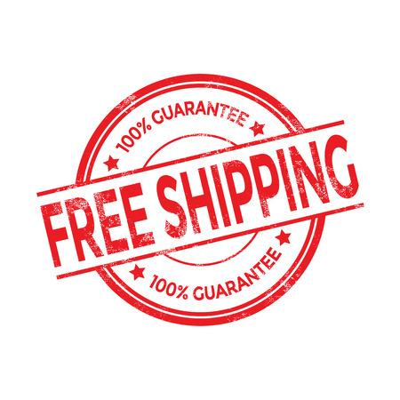 Vector gratis verzending rode stempel Stock Illustratie