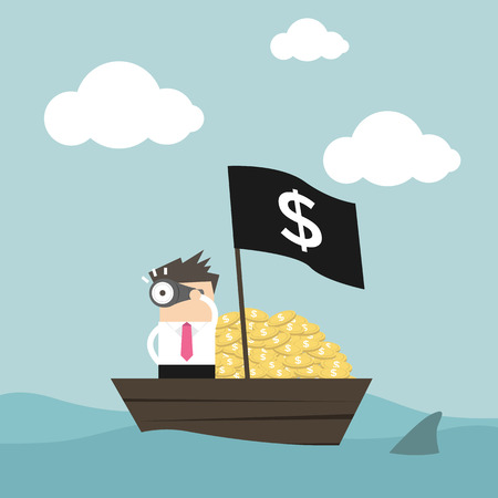 financial adviser: Businessmen on money boat watching through telescope. Illustration