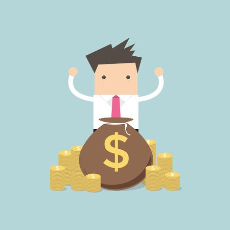 Happy Businessman stand behind money bag