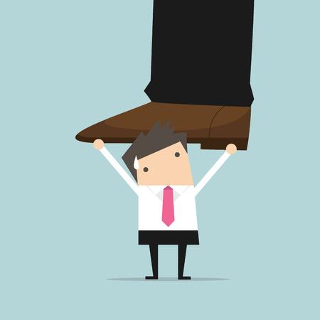 weighty: Businessman holding big businessman foot