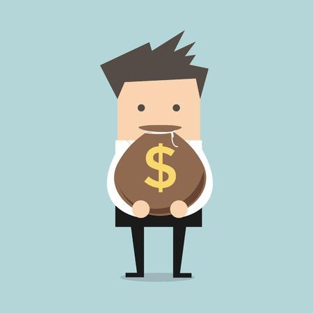 Geschäftsmann hält einen Geldbeutel mit Dollarzeichen