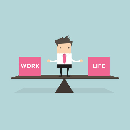 Businessman balance Work and life Çizim