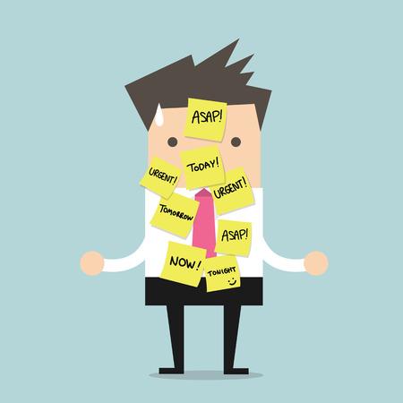 たくさんの緊急の仕事のための短いメモを持ったビジネスマン