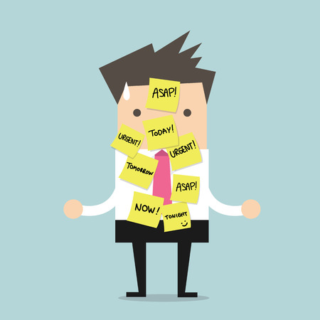 worried businessman: Businessman with a lot of short note for urgent work Illustration