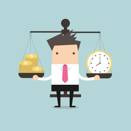 balanza en equilibrio: Tiempo y dinero Equilibrio