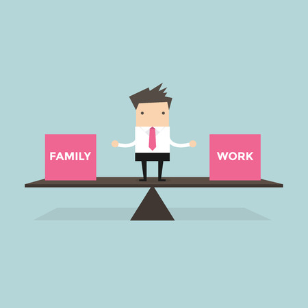 balance life: businessman standing balance life with family and work vector