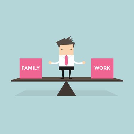 Empresario de pie la vida equilibrio con la familia y el trabajo vector Foto de archivo - 42448891
