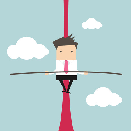 rope vector: Businessman balancing on rope