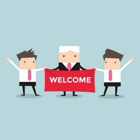 celebra: Empresario con signo de bienvenida