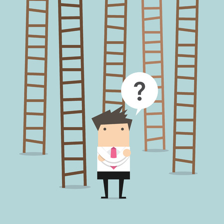 choices: businessman choices ladder to success Illustration