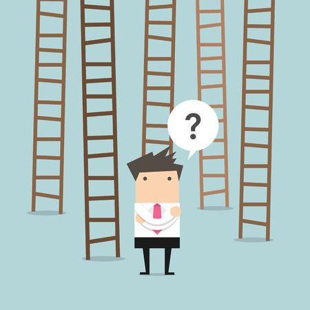 choose a path: businessman choices ladder to success Illustration