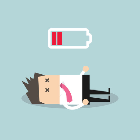 flagging: Businessman with low battery Illustration