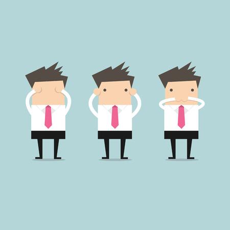 El hombre de negocios como tres pequeños monos 3 cercanos Foto de archivo - 42448940