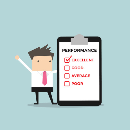 customer service: Businessman with performance check list