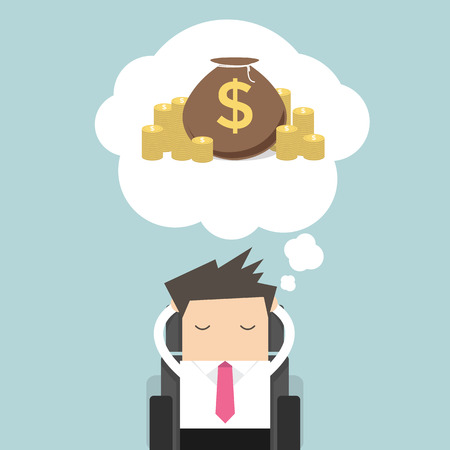 residual income: Business man dreaming about money Illustration