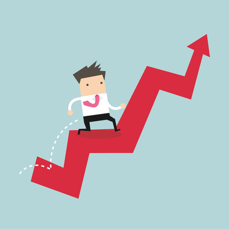 Businessman jump over growing chart