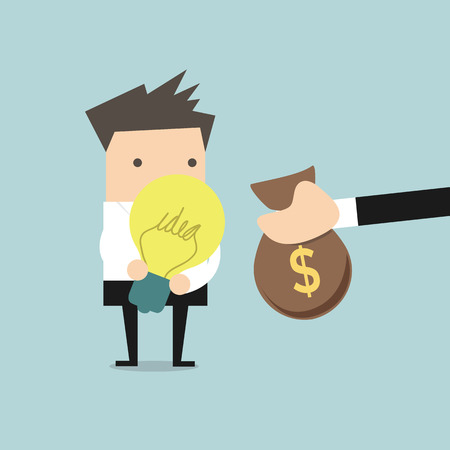 pay money: Businessman pay money for buy idea, trading vector illustration. Illustration