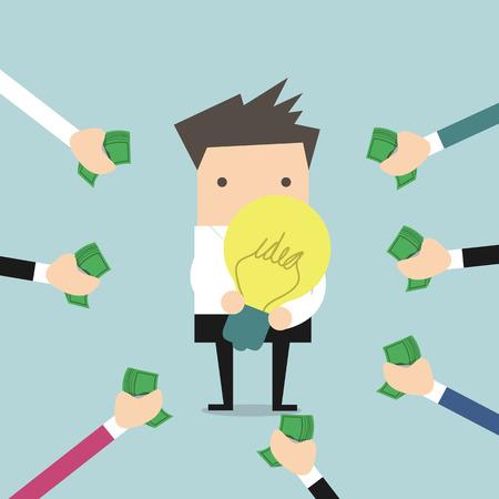 Businessman pay money for buy idea, trading vector illustration