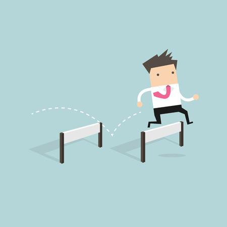 adventurer: Businessman Jumping Over Hurdle vector