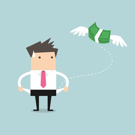 お金のベクトルを持たないビジネスマン  イラスト・ベクター素材