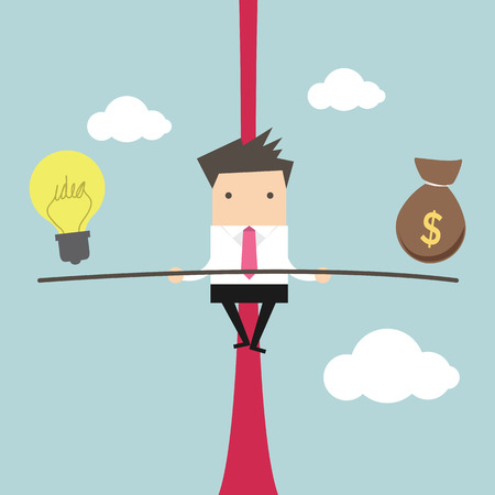 inconstant: Business man balancing on the rope with ideas and money