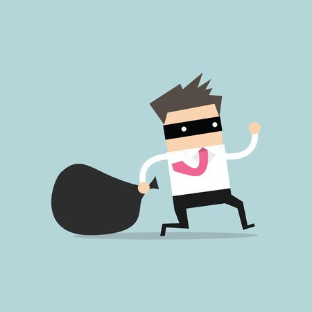 ladron: Hombre de negocios en máscara de ladrón huye con el bolso robado Vectores