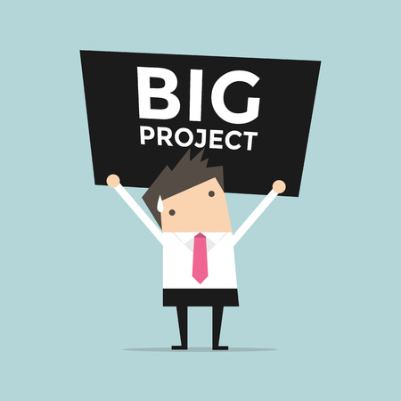 worried executive: Businessman carrying a heavy big project Illustration