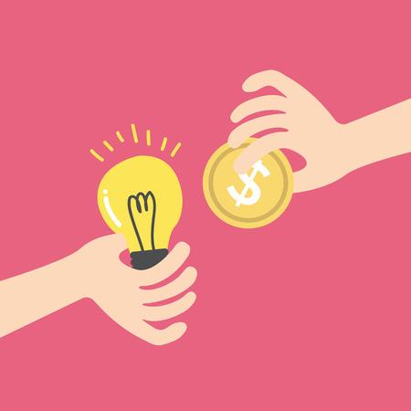 exploit: Exchange light bulb idea and money. business idea concept