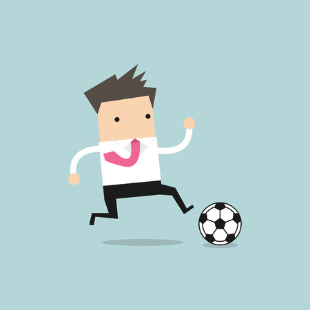 business team: Businessman football player running with the ball Stock Photo