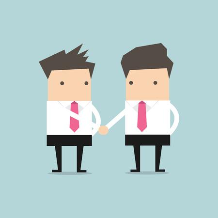 congratulating: Businessman shaking hands congratulating Stock Photo