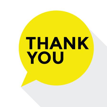 agradecimiento: Diseño plano burbuja del discurso Gracias, vector de concepto Foto de archivo