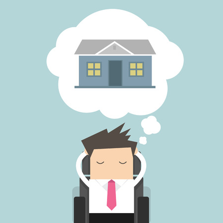 immovable property: Businessman is thinking about house Stock Photo