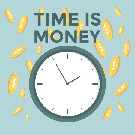 Flat time is money concept background. Money saving