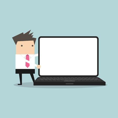 hombres ejecutivos: El hombre de negocios que apunta a la pantalla del portátil Foto de archivo