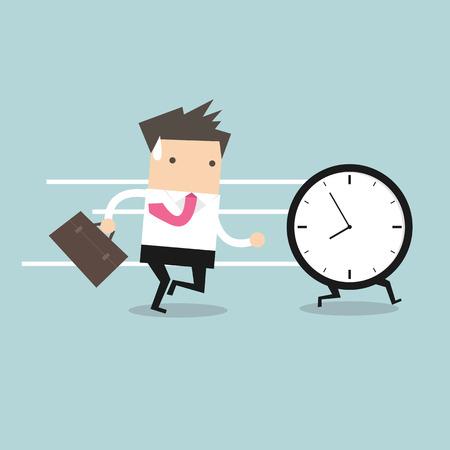 Business man run follow the clock