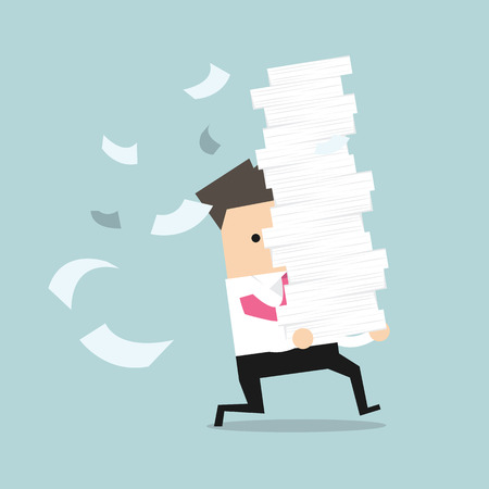 Businessman run holding a lot of papers in his hands