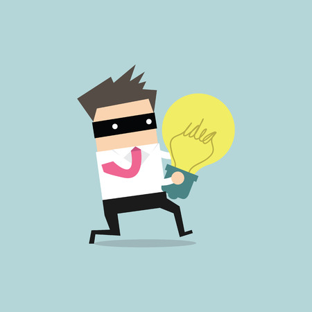 stealing: Thief stealing idea businessman